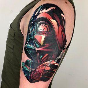 Star Wars tattoo by Tim Lemper #TimLemper #StarWarstattoos #StarWarstattoo #StarWars #GeorgeLucas #movietattoo #filmtattoo #space #galaxy #scifi #darthvader