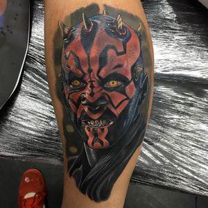 Star Wars tattoo by Alex Rattray #AlexRattray #DarthMaul #StarWarstattoos #StarWarstattoo #StarWars #GeorgeLucas #movietattoo #filmtattoo #space #galaxy #scifi