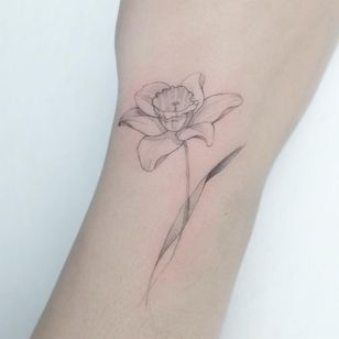 Birth month flower tattoo by Maeryotattoo #Maeryotattoo #daffodil #birthmonthflowertattoos #birthmonthflowers #flowertattoo #flowers #florals #petals #blooms #leaves #nature #plant #birthmonth