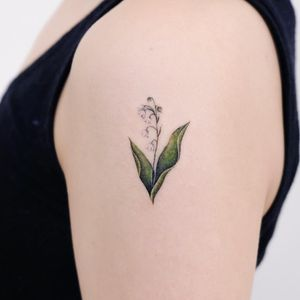 Birth month flower tattoo by Siyeon #Siyeon #lilyofthevalley #birthmonthflowertattoos #birthmonthflowers #flowertattoo #flowers #florals #petals #blooms #leaves #nature #plant #birthmonth