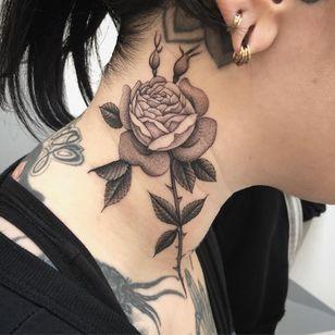 Birth month flower tattoo by Zac Schienbaum #ZacScheinbaum #rosetattoo #rose #birthmonthflowertattoos #birthmonthflowers #flowertattoo #flowers #florals #petals #blooms #leaves #nature #plant #birthmonth