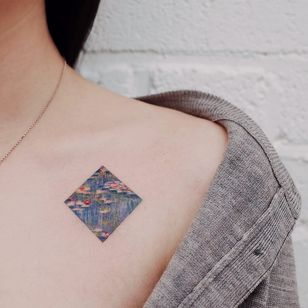 Birth month flower tattoo by Saegeem #Saegeem #waterlilies #waterlily #monet #painting #birthmonthflowertattoos #birthmonthflowers #flowertattoo #flowers #florals #petals #blooms #leaves #nature #plant #birthmonth