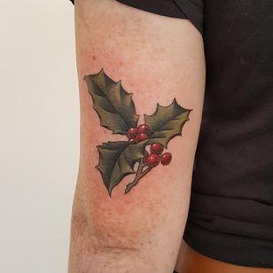 Birth month flower tattoo by Cori Henderson #CoriHenderson #holly #birthmonthflowertattoos #birthmonthflowers #flowertattoo #flowers #florals #petals #blooms #leaves #nature #plant #birthmonth