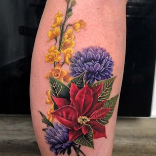 Birth month flower tattoo by Jennifer Sterry #JenniferSterry #poinsettia #birthmonthflowertattoos #birthmonthflowers #flowertattoo #flowers #florals #petals #blooms #leaves #nature #plant #birthmonth