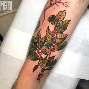 Birth month flower tattoo by Noa Ink #NoaInk #holly #birthmonthflowertattoos #birthmonthflowers #flowertattoo #flowers #florals #petals #blooms #leaves #nature #plant #birthmonth