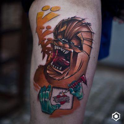 Chewbacca tattoo by Luke Skydrawer #LukeSkydrawer #chewbaccatattoo #chewbacca #starwars #movietattoos #petermayhew #georgelucas #scifi