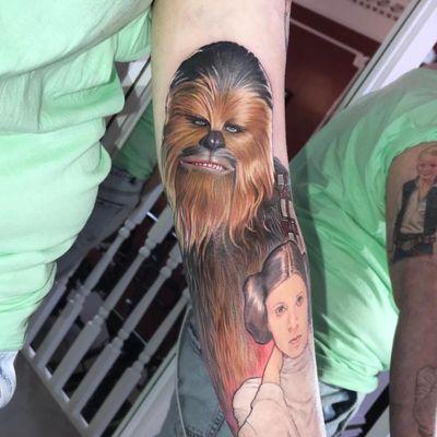 Chewbacca tattoo by David Corden #DavidCorden #chewbaccatattoo #chewbacca #starwars #movietattoos #petermayhew #georgelucas #scifi