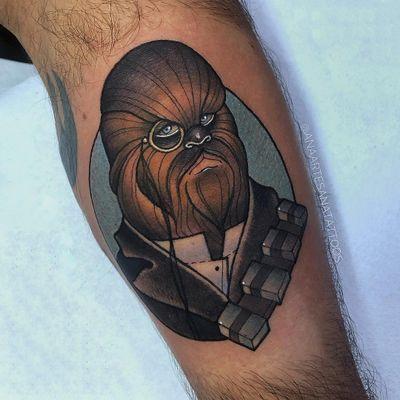 Chewbacca tattoo by Ana Artesana #AnaArtesana #chewbaccatattoo #chewbacca #starwars #movietattoos #petermayhew #georgelucas #scifi
