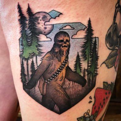 Chewbacca tattoo by Chase Martines #ChaseMartines #chewbaccatattoo #chewbacca #starwars #movietattoos #petermayhew #georgelucas #scifi