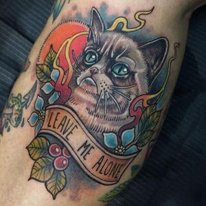 Grumpy Cat tattoo by Beto Gonzalez #BetoGonzalez #TardarSauce #GrumpyCat #cat #kitty #petportrait #GrumpyCattattoos #GrumpyCattattoo #cattattoo #meme #petportraittattoo #funnytattoo