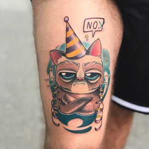 Grumpy Cat tattoo by Jools #Jools  #TardarSauce #GrumpyCat #cat #kitty #petportrait #GrumpyCattattoos #GrumpyCattattoo #cattattoo #meme #petportraittattoo #funnytattoo