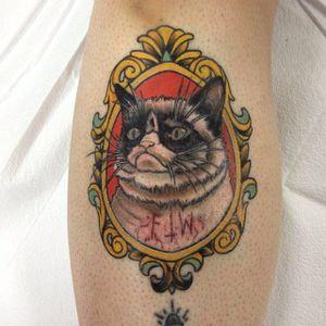 Grumpy Cat tattoo by Tommy Coon #TommyCoon #TardarSauce #GrumpyCat #cat #kitty #petportrait #GrumpyCattattoos #GrumpyCattattoo #cattattoo #meme #petportraittattoo #funnytattoo