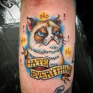 Grumpy Cat tattoo by Ashley Nicholas #AshleyNicholas #TardarSauce #GrumpyCat #cat #kitty #petportrait #GrumpyCattattoos #GrumpyCattattoo #cattattoo #meme #petportraittattoo #funnytattoo