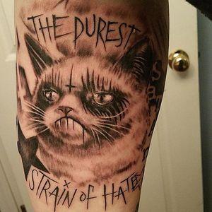 Grumpy Cat tattoo by Cat of Diablo Ink #CatDiabloInk #DiabloInk #TardarSauce #GrumpyCat #cat #kitty #petportrait #GrumpyCattattoos #GrumpyCattattoo #cattattoo #meme #petportraittattoo #funnytattoo