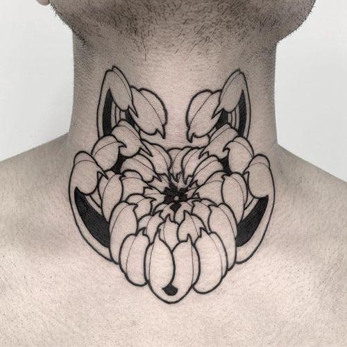 Floral tattoo by Oscar Hove #OscarHove #floraltattoos #floral #flower #flowertattoos #plants #nature #petals #japanese #neojapanese #blackwork #linework #chrysanthemum #neck