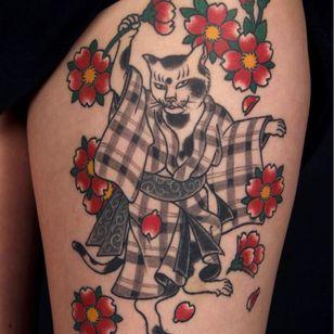 Japanese cat tattoo by David Sena #DavidSena #Senaspace #NewYork #Brooklyn #Japanese #cat #neko #cherryblossoms #flowers #irezumi #tattooedtravels #tattooideas #tattooshop #tattoostudio #travel #tattoos