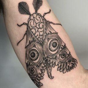Evil moth monster tattoo by Ryan Roi #RyanRoi #DukkhaTattoo #NewYork #Brooklyn #linework #illustrative #monster #eye #tattooedtravels #tattooideas #tattooshop #tattoostudio #travel #tattoos