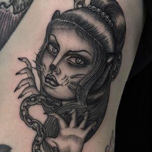 Cat lady tattoo by Juan Diego aka Illegal Tattoos #JuanDiego #IllegalTattoos #NewYork #Brooklyn #chicano #catlady #cat #kitty #pinup #tattooedtravels #tattooideas #tattooshop #tattoostudio #travel #tattoos