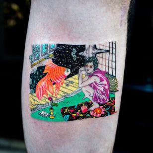 Takato Yamamoto tattoo by Julian Llouve #JulianLlouve #TakatoYamamoto #NewYork #Brooklyn #japanese #color #surrealism #surreal #tattooedtravels #tattooideas #tattooshop #tattoostudio #travel #tattoos