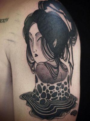 Illustrative tattoo by Damien J Thorn #DamienJThorn #blackwork #Japanese #Japaneseinspired #neojapanese #linework #illustrative #tribal #neotribal #darkart