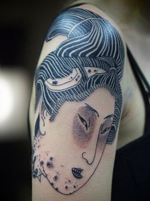 Neo Japanese tattoo by Damien J Thorn #DamienJThorn #blackwork #Japanese #Japaneseinspired #neojapanese #linework #illustrative #tribal #neotribal #darkart