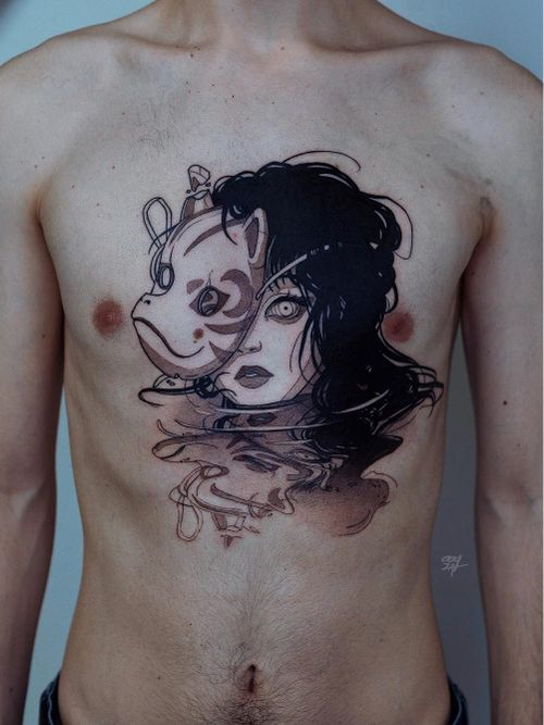 Chest tattoo by Ooqza #Ooqza #torsotattoos #torso #bigtattoo #bigtattoos #bodysuit #chesttattoo #kitsune #mask #lady #ladyhead #reflection #water #coverup