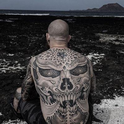 Back tattoo by Jondix #Jondix #torsotattoos #torso #bigtattoo #bigtattoos #bodysuit #blackandgrey #sacredgeometry #geometric #skull #tibetan #dotwork #pentagram #mandala #darkart