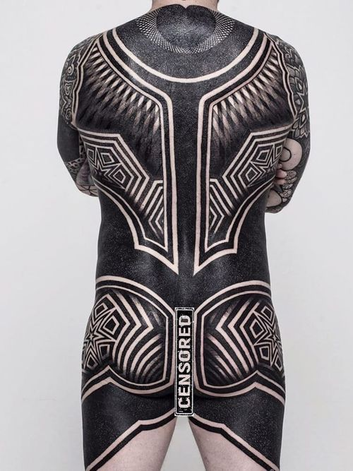 Bodysuit by Xnazax #Xnazax #torsotattoos #torso #bigtattoo #bigtattoos #bodysuit #blackwork #tribal #geomatric #linework #dotwork #opticalillusion