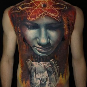 Torso tattoo by Jak Connolly #JakConnolly #torsotattoos #torso #bigtattoo #bigtattoos #bodysuit #realism #realistic #Hyperrealism #face #portrait #forest #chesttattoo #stomachtattoo #hand #water #nature #eye