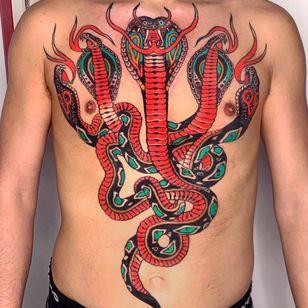 Torso tattoo by Pablo Lillo #PabloLillo #torsotattoos #torso #bigtattoo #bigtattoos #bodysuit #snake #reptile #traditional #color #animal #stomachtattoo #backtattoo