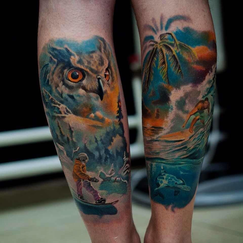 Are you more a snow sport person or a beach side lover? Amazing pair of tattoos by Evgeny Tokmakov.