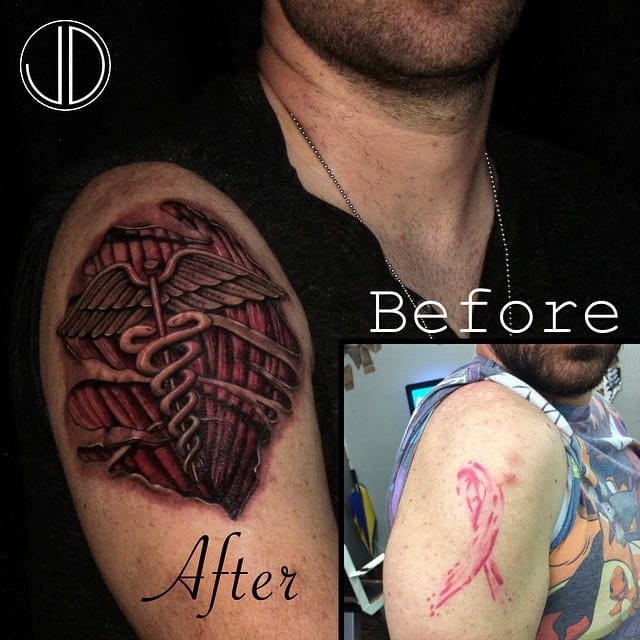 Ripped skin tattoo (cover-up) by JD Moore.
