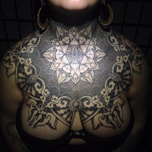 One of the most incredible chest piece tattoos we've seen! By Raph Cemo.