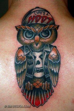 Cool punk owl tattoo by Jim Sylvia