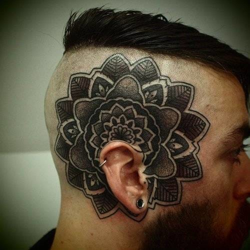 Dotwork looks cool on the head as well! Artist unknown #mandala #dotwork