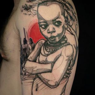 Incredible creativity in this tattoo by L'Oiseau!