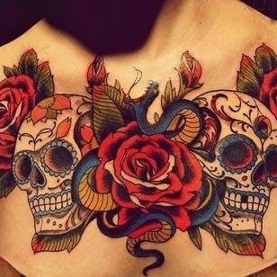 Old school rose and sugar skull, unknown artist