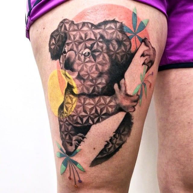 Graphic koala by Amanda Chanfreau. pattern tattoos #amandachanfreau #patterns #pattern #patterntattoo #patterntattoos