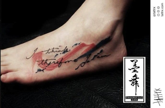 The iconic philosophy statement of Descartes on the foot by Jodic Chan. #quote #quotetattoo #philosophy #lettering #JodicChan #Descartes