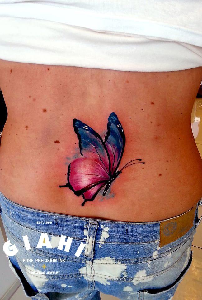 Pretty tattoo by Andrzej Niuniek. #Butterfly #ButterflyTattoo