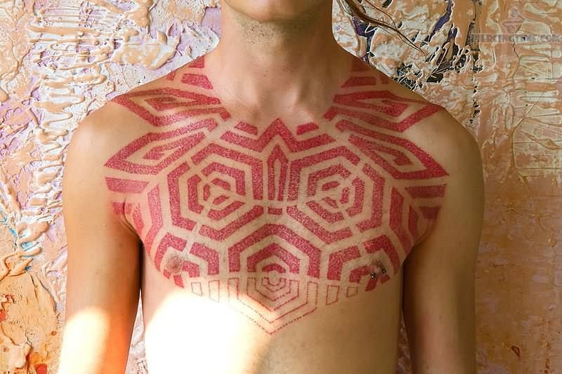 Red ink chest piece #redink #red #geometric #geometry