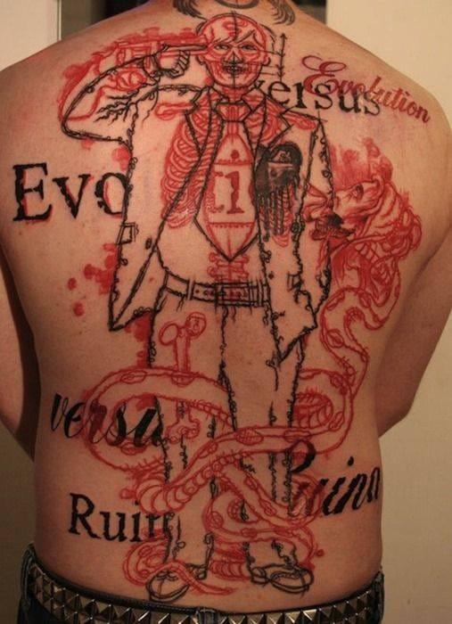 Red ink back tattoo. Artist unknown #redink #man #suit #evolution #gun #sketch #snake