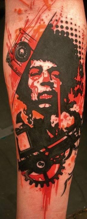 Jimmy Hendricks tribute influenced by Trash Polka. Artist Jean François Palumbo. #jimmyhendrix #trobute #trashpolka #redink #red #JeanFrançoisPalumbo