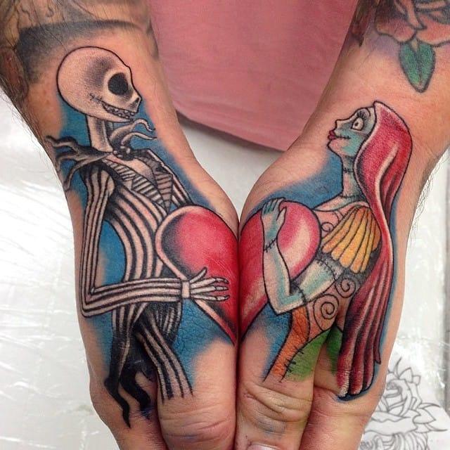 Terrific split tattoo by Tim Childs!