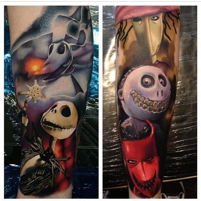 Cool Nightmare before Christmas tattoo by Yogi Barrett.