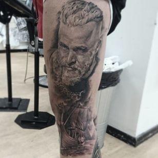 Impressive leg piece by The Gaddfather Tattoo.