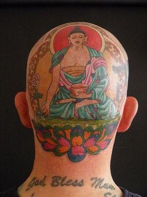 Medicine Buddha tattoo #buddha #medicine #scalp