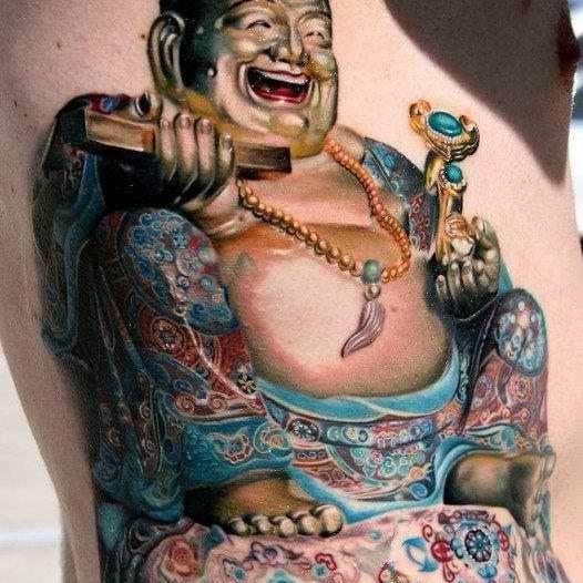 Lovely attention to detail! Buddha tattoo, artist unknown. #buddha