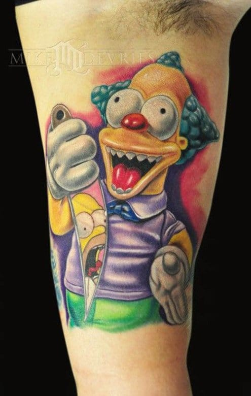 Krusty the Clown Tattoo by Mike DeVries