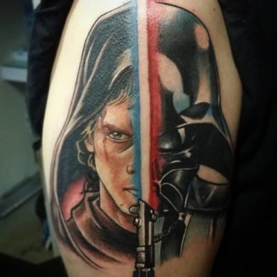 Creative Skywalker Vader Tattoo by Tattoo by Piero Tat-twin Bockos #skywalker #starwars